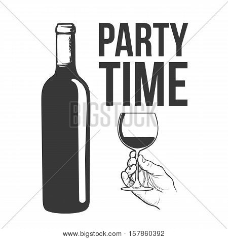 Red wine bottle and hand holding a glass, sketch style vector illustration isolated. Realistic hand drawing of an unlabeled, unopened wine bottle, party time concept for posters, postcards