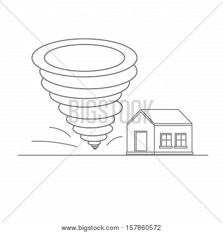 Tornado. Catastrophic natural phenomenon destroying houses. Disaster. Vector illustration.