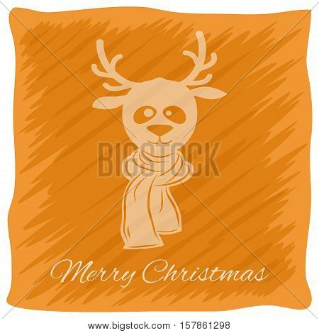 Christmas or New Year's greeting card. Vector logo, emblem design. Bright orange stripes painted carelessly. Transparent silhouette of a Christmas deer in a scarf. Usable for banners, greeting cards, gifts etc.