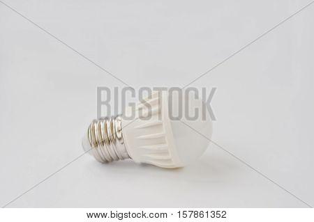 Led Bulb 60 V 6 Watt E27 On White Background.