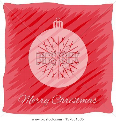 Christmas or New Year's greeting card. Vector logo, emblem design. Bright red stripes painted carelessly. Transparent silhouette of a Christmas ball. Usable for banners, greeting cards, gifts etc.