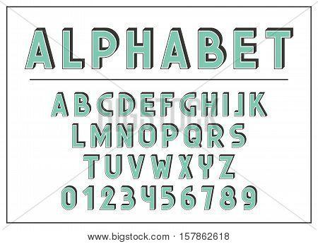 Alphabet letter. Font and abc letters print typography vector Illustration. Retro type font, vintage alphabet.