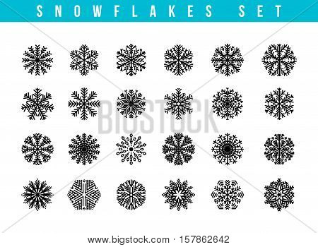 Set gray 24 different snowflakes of handmade. Snowflake Flat. New Year's symbols. Snowflakes for design. Winter objects. Festive elements. Snowflake Doodle. Snowflake Sketch