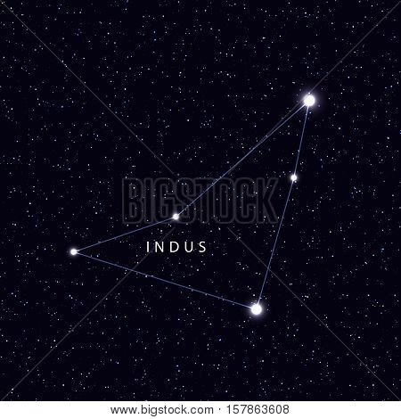 Sky Map with the name of the stars and constellations. Astronomical symbol constellation Indus