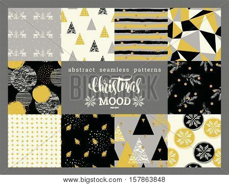 Christmas and New Year Set. Abstract geometric and ornamental seamless patterns. Trendy Hand Drawn textures. Vector Design Templates Collection for Banner Paper.