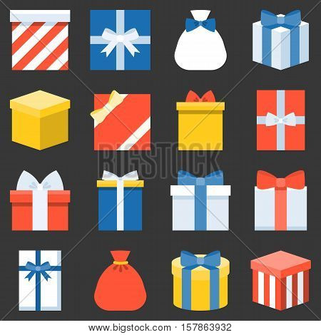 parcel and colorful gift box collection, present boxes icon for christmas and new year, flat design vector