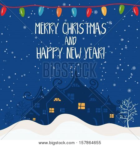 Cartoon Illustration For Holiday Theme With House On Winter Background. Greeting Card For Merry Chri