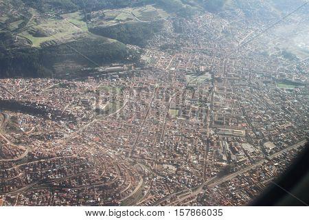 Aerial View of City of La Paz Bolivia