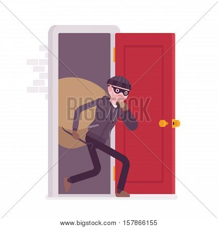 Thief carring loot through the front door. Cartoon vector flat-style concept illustration