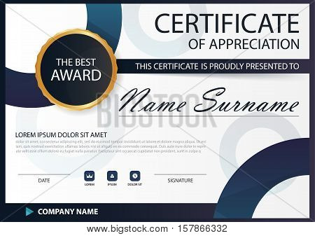 Blue black Elegance horizontal Circle certificate with Vector illustration white frame certificate template with clean and modern pattern presentation