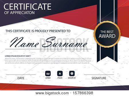 Red black Elegance horizontal Circle certificate with Vector illustration white frame certificate template with clean and modern pattern presentation
