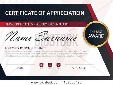 Red line Elegance horizontal certificate with Vector illustration white frame certificate template with clean and modern pattern presentation