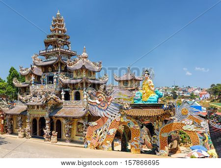 View Of The Linh Phuoc Pagoda In The Mosaic Style From Shards Of Glass, Pottery And Porcelain In Da