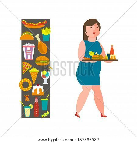 Food and woman icon for lifestyle infographic. Overweight girl with junk-food. Vector illustration