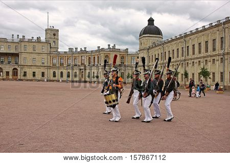 Gatchina Russia - 9 July 2016: Reconstruction of the Gatchina divorce guard the Lifeguards Jaeger Regiment near Great Gatchina Palace. Lifeguard Jaeger Regiment was a Jaeger regiment of the Russian Imperial Guard from 1796 to 1917