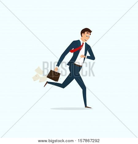 Businessman running and looking on watch. Human is late for work. Cartoon character isolated on light-blue background. Vector illustration.