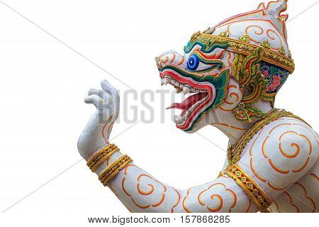 Traditional Thai Style Hanuman Or Monkey Statue In Public Temple In Thailand. Isolated On White. Sav