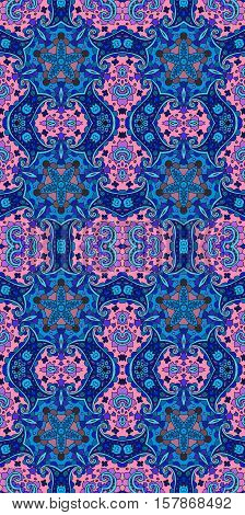 Beautiful seamless vector pattern with curls and flowers in blue and pink tones.