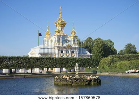 SAINT PETERSBURG, RUSSIA - JULY 03, 2015: Summer evening in the Upper Park. The historical landmark of the Petrodvorets