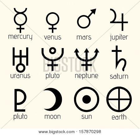 Vector Planet Astrological, Astronomical Symbols Set Illustration
