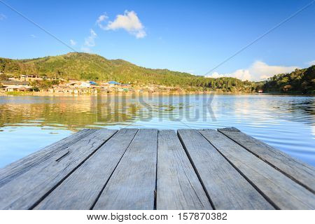 Empty Wooden Floor Or Decking Beside The Lake