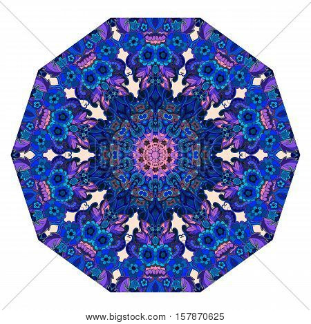 Umbrella template. Flower mandala in blue and pink tones. Mat. Vector illustration.