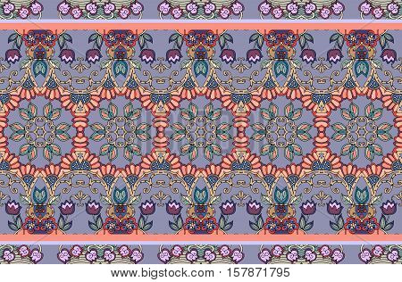 Beautiful floral indian pattern with border -1. Vector endless background.