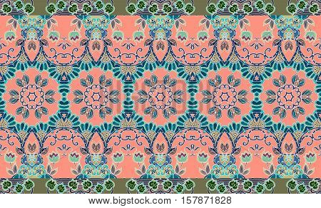 Beautiful floral indian pattern with border -2. Vector endless background.