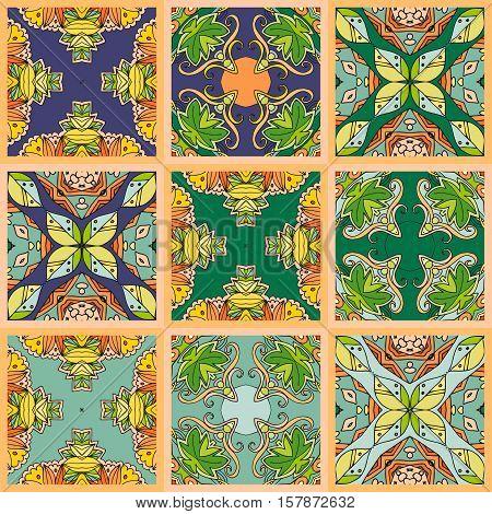 Vector set of square ceramic tiles in green tones.
