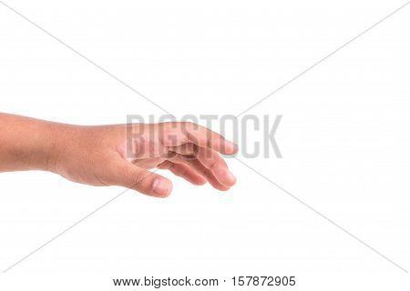 Left Children Hand Isolated On White