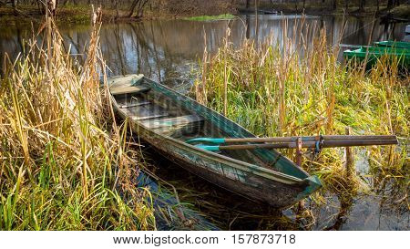 old wooden boat in cane on river