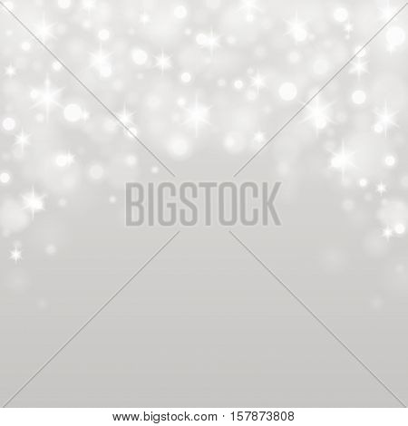 Bokeh Light Gray Sparkles On Transparency Background Vector Illustration.