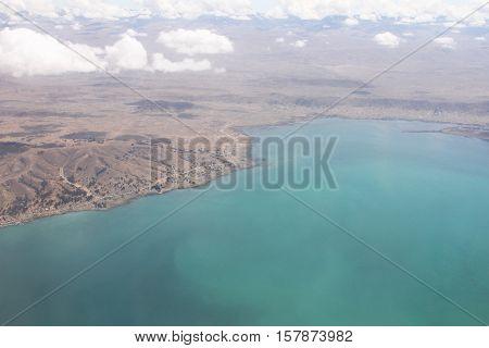 Aerial view of coastline of Bolivia near La Paz