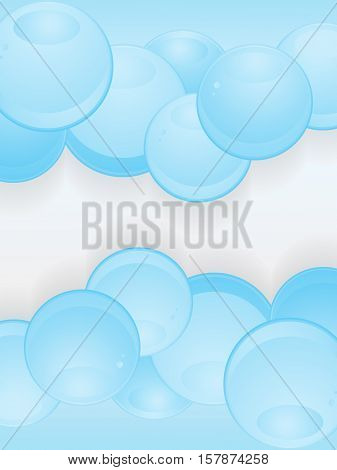Abstract Glossy Blue 3D Illustration Spheres Portrait Background
