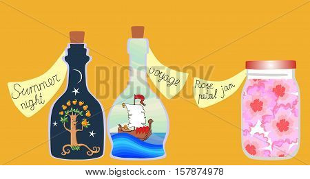 "What do we have for supper today? Cute cartoon allegorical illustration of the series of ""Vitamins for the Soul"". Cans and bottles of jam, pleasant memories and a real adventure."