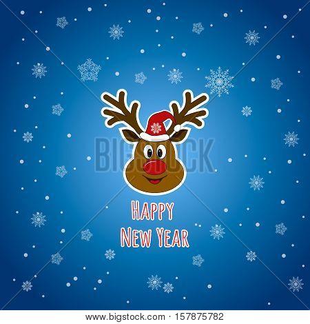 Happy New Year. Santa Claus's reindeer. Rudolph reindeer. Snowflakes background.