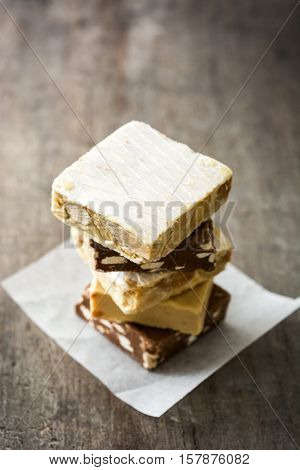Christmas nougat  stacked on wooden table background