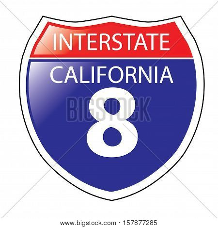 Layered artwork of California I-8 Interstate Sign