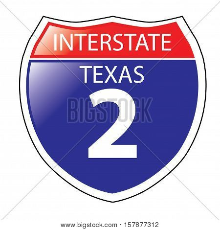 Layered artwork of Texas I-2 Interstate Sign