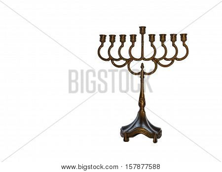 Menorah is traditional candelabra for Hebrew Holiday. Image isolated on white background