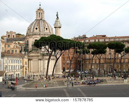 ROME, ITALY - JUNE 12, 2015: The forum of Trajan in Rome. Italy. Trajan's Forum was the last of the Imperial fora to be constructed in ancient Rome.