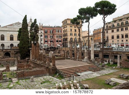 ROME, ITALY - JUNE 15, 2015: Archaeological area of Largo di Torre Argentina in Rome Italy