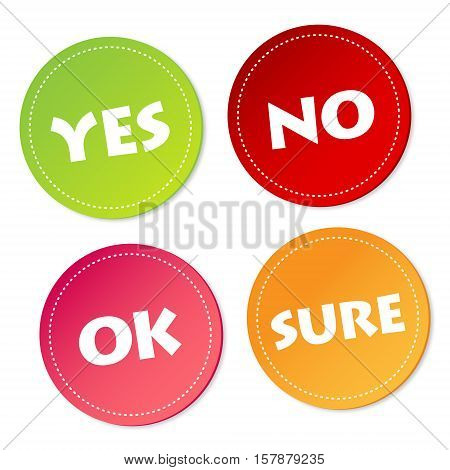 Yes, No, Ok and Sure on stickers