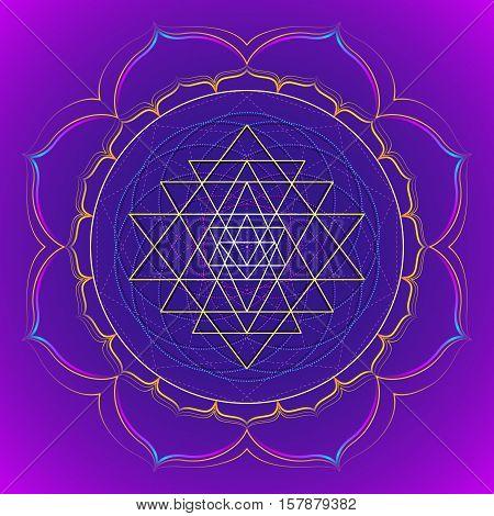 Color Mandala Sacred Geometry Illustration.