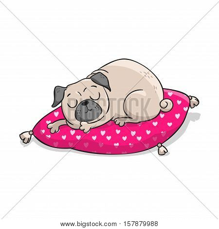 Cute pug. Vector hand drawn cartoon illustration isolated on white background.