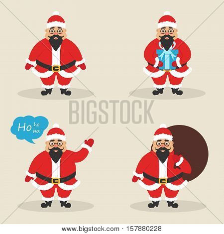 Set of asian cute character Santa clauses in different poses. Santa with the bag, with gift, waving his hand. Modern flat design. Vector illustration. Beautiful male. Flat.