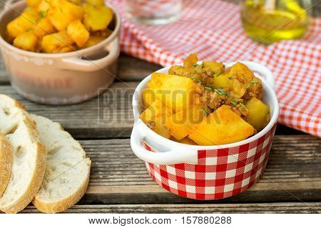 Potato stew with minced ground meat beef