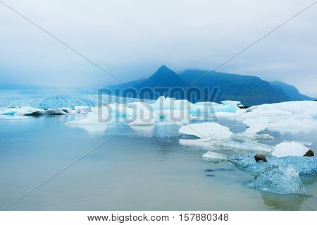 Icebergs In The Glacial Lake, South Iceland