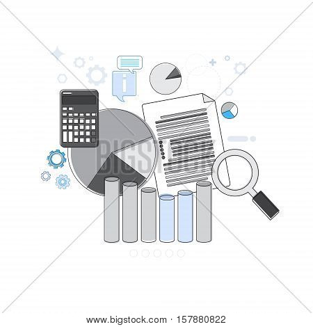 Financial Analysis Business Web Banner Thin Line Vector Illustration