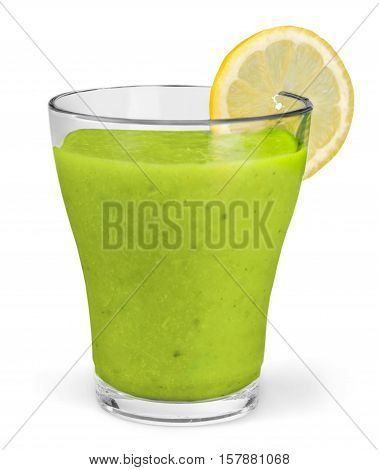 Wheat grass juice with lemon slice in glass on white background